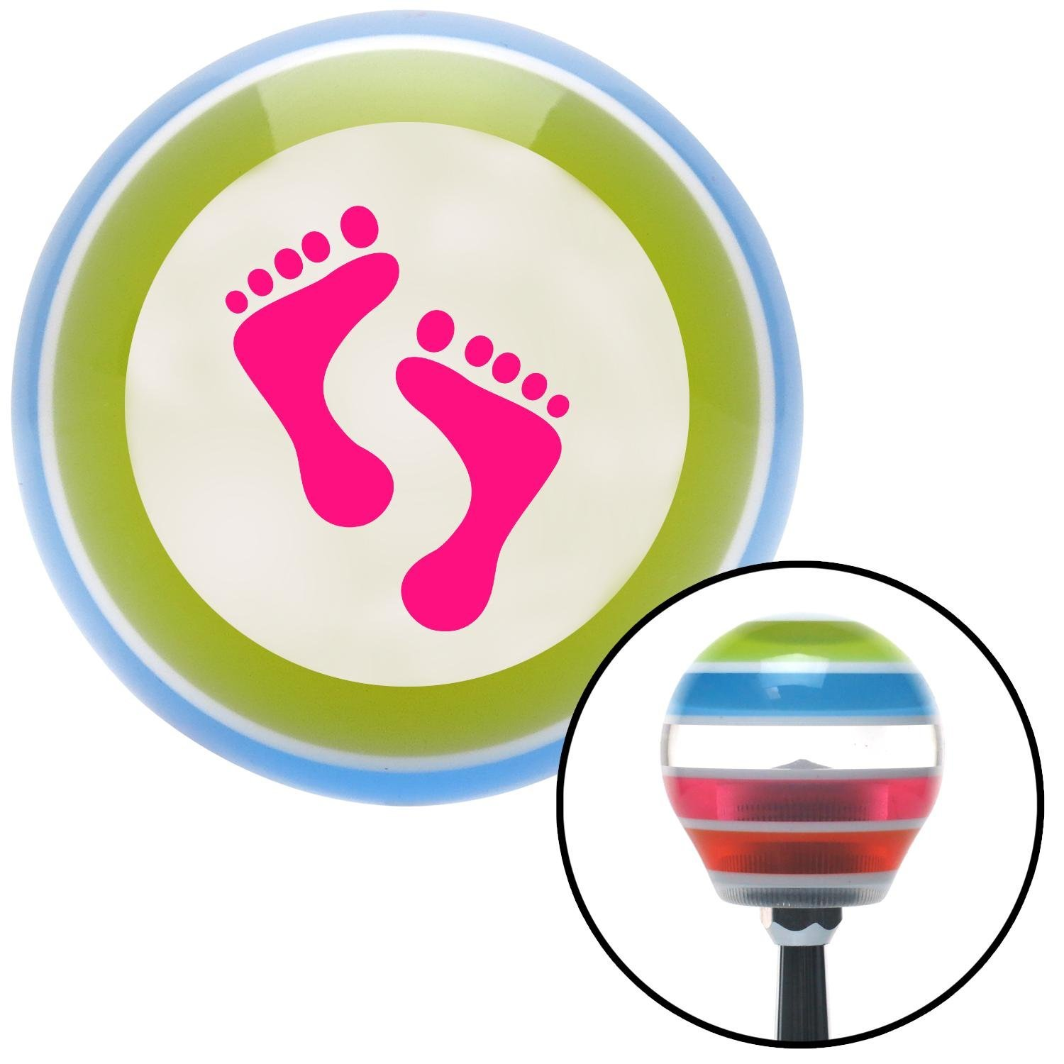 Pink Foot Prints American Shifter 132229 Stripe Shift Knob with M16 x 1.5 Insert