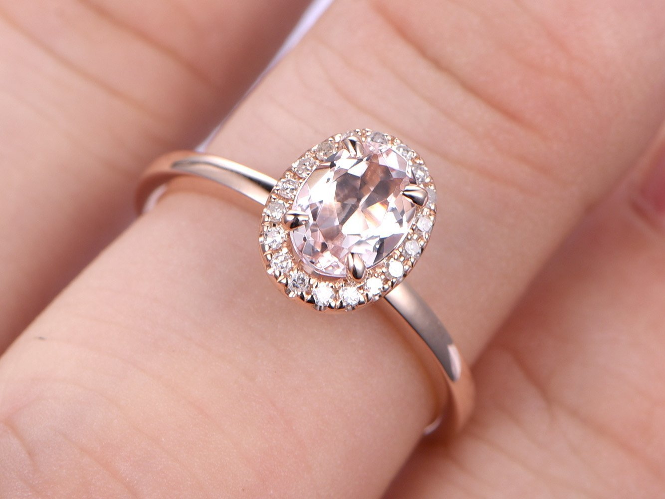 Amazon.com: Solid 14k Rose Gold 5x7mm Oval Cut Natural Pink ...