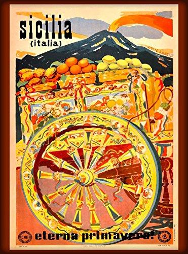 (MAGNET Sicilia Sicily Italy Italia Italian Europe Vintage Travel Advertisement Magnet)