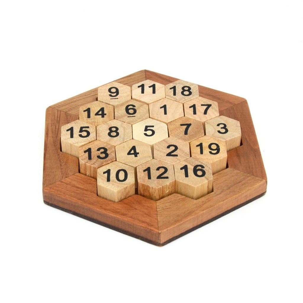 KINGOU Wooden Logic Puzzle Brain Teasers Intellectual Toy Number Puzzle
