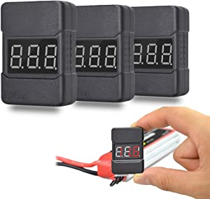 RC Lipo Battery Checker Tester Low Voltage Monitor Buzzer Alarm Voltage Checker with LED Indicator for 1 to 8S RC Battery 3Pack