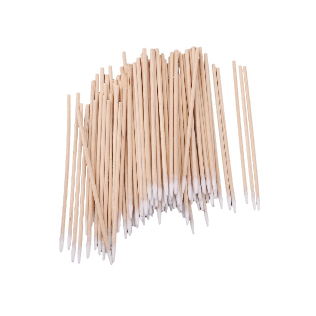 MagiDeal 200pcs Cotton Swab Applicator Swabs Wood Handle Sturdy Cleaning Makeup Tool