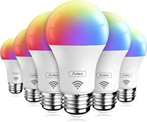 Amico 6 Pack LED Smart Light Bulb, RGB Color Changing WiFi Bulb (2.4G), No Hub Required, Compatible with Alexa, Siri, Google Home, A19 E26 9W=60W