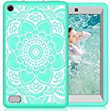 Hocase Fire 7 2017 Case Shockproof Anti-Scratch Hybrid Dual Layer Silicone Bumper Protective Case with Cute Mandala Flower for All-New Fire 7 Tablet (7th Generation, 2017 Release) - Teal / Grey