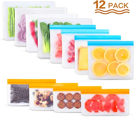 Reusable Freezer Bags,12 Pack BPA Free Reusable Storage Bags(4 Reusable Gallon Bags, 4 Reusable Sandwich Bags, 4 Reusable Snack Bags) Leakproof Ziplock Lunch Bags for Toiletries,Fruit,Meat,Sous Vide