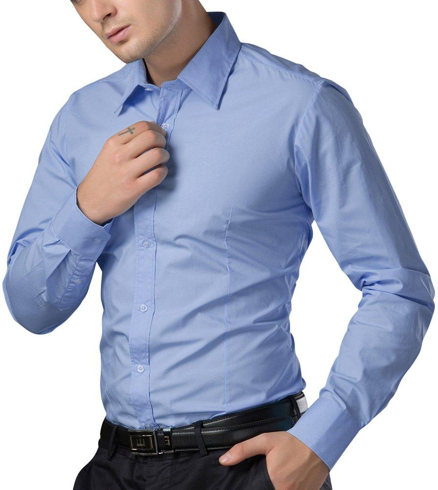 Paul Jones®Men's Shirt Formal Casual Shirt for Men Button Down (M) CL1044-5 Light Blue by Paul Jones®Men's Shirt (Image #3)