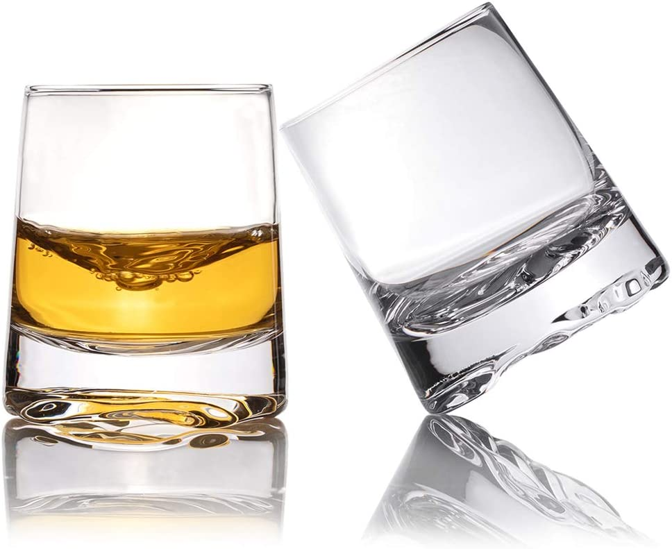 Zfitei Ripple Whiskey Glasses Set of 2,Hand Blown Crystal Glasses,8oz Thick Weighted Bottom Rocks Glass,Perfect for Old Fashioned Cocktail,Bourbon,Scotch