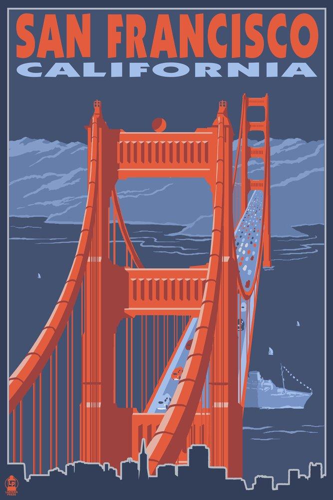 San Francisco, California - Golden Gate Bridge (24x36 Giclee Gallery Print, Wall Decor Travel Poster) by Lantern Press