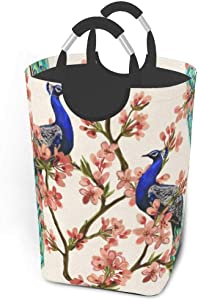 Collapsible Laundry Baskets Peacock Azalea Flowers Large Dirty Laundry Hamper Colapsable Collaspable Calaspable Fold Dorm Fabric Laundry Basket For Baby Girl Kids Sock Clothes Camp Travel Rectangle