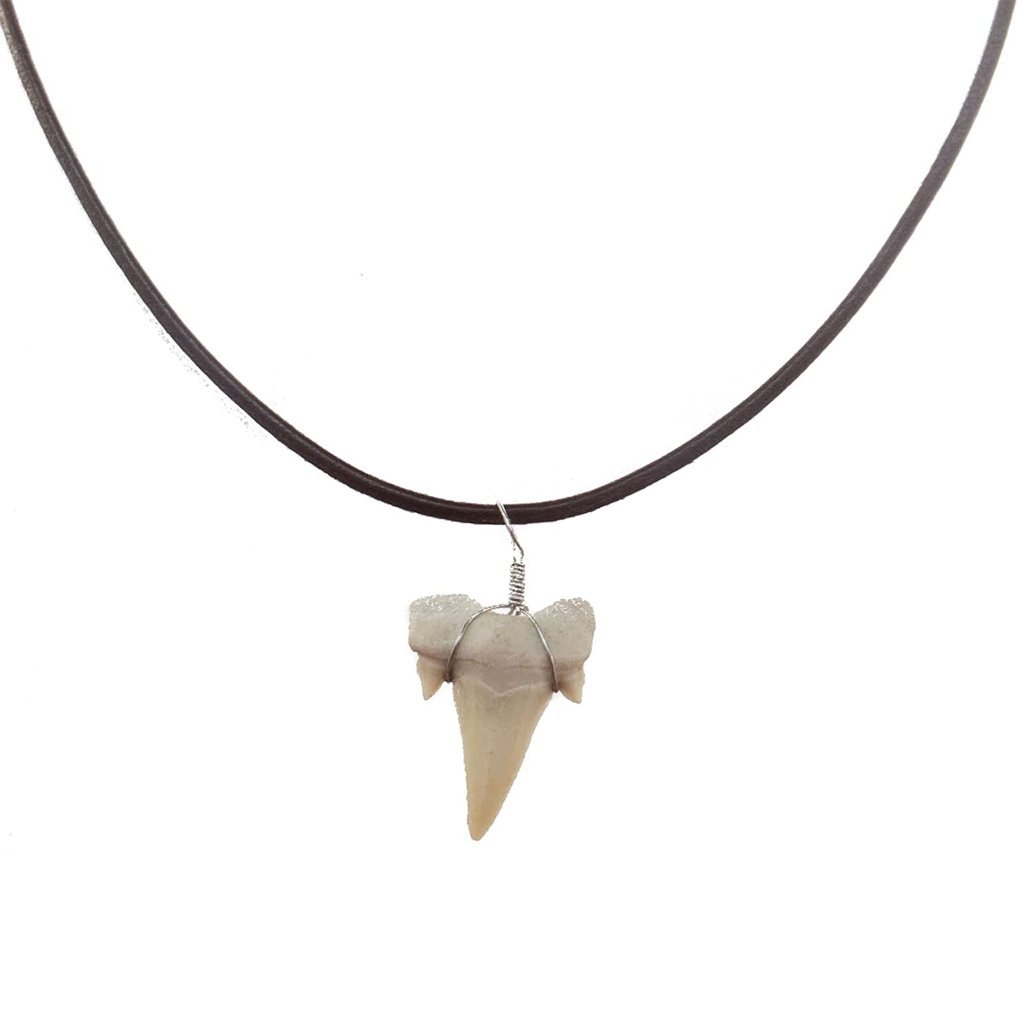 Shark Tooth Necklace for Men Boys Teens Kids - Genuine Fossil Pendant on Stylish Leather Necklace - Cool Men's Classic Surfer Style Necklaces - Novelty Fashion Jewelry for Men - Summer Accessories