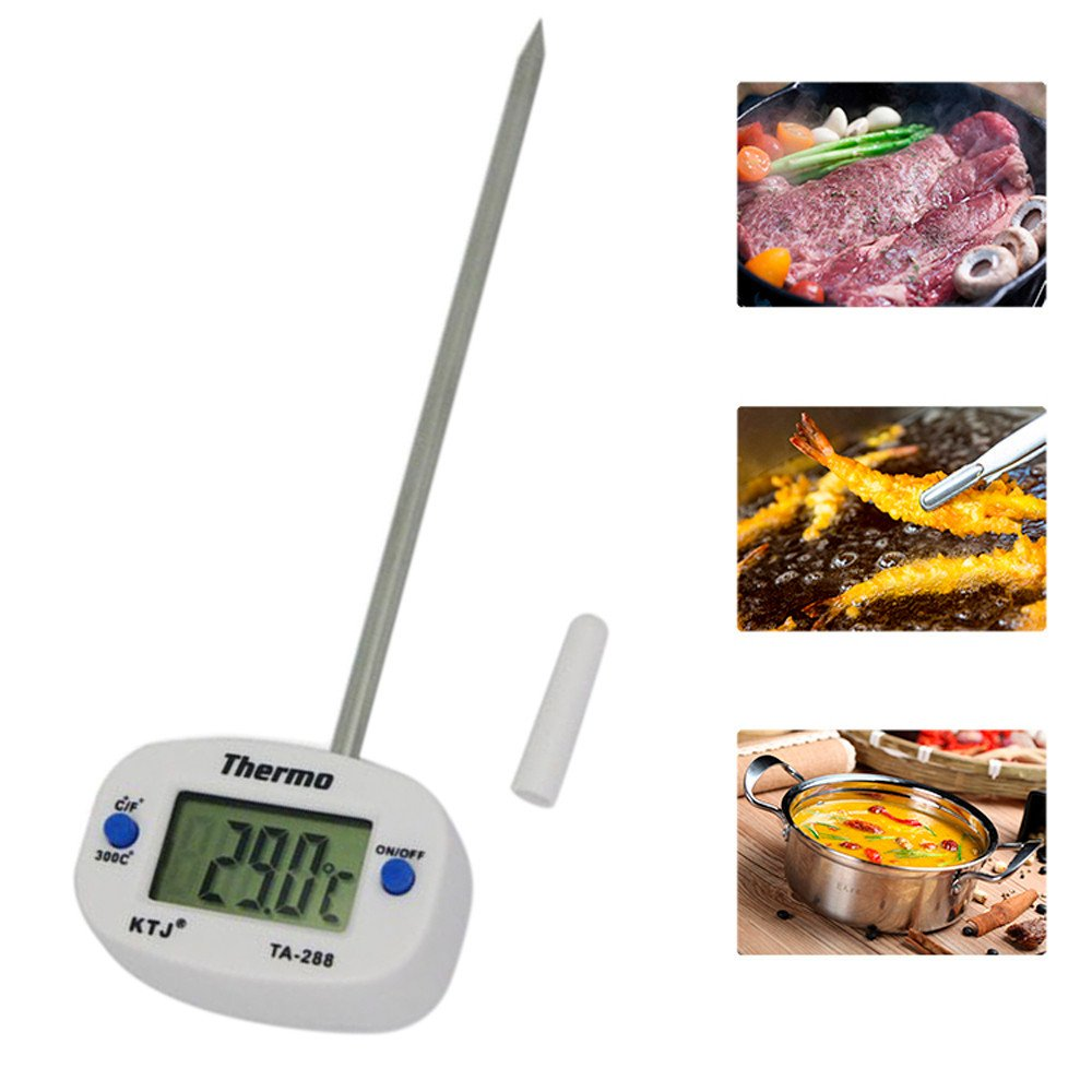 Houshelp Digital Meat Thermometer Instant Read Cooking Thermometer for Outdoor Cooking BBQ Digital Food Thermometer White