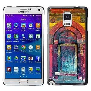 FECELL CITY // Duro Aluminio Pegatina PC Caso decorativo Funda Carcasa de Protección para Samsung Galaxy Note 4 SM-N910 // Kuli Paint Teal Purple Building Door