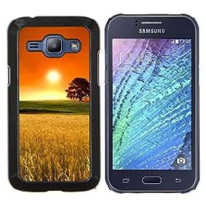 KLONGSHOP // Cubierta de piel con cierre a presión Shell trasero duro de goma Protección Caso - Puesta de sol Beautiful Nature 2 - Samsung Galaxy J1 J100 //