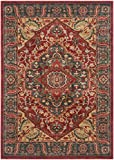 Safavieh Mahal Collection MAH621C Traditional Oriental Navy and Red Area Rug (4′ x 5'7″) For Sale