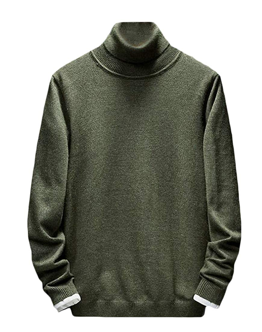 Wofupowga Mens Pullover Fall Winter Pure Color Long Sleeve Knitted Tops Sweaters