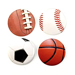 """Buttonsmith Sports Balls 1.25"""" Magnet Set - Made in the USA"""