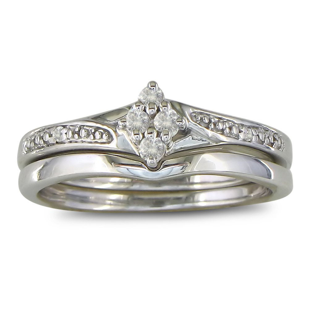 Affordable Finely Crafted Diamond Bridal Wedding Ring Set in Sterling Silver,... SuperJeweler H071005EW SS sz6.5