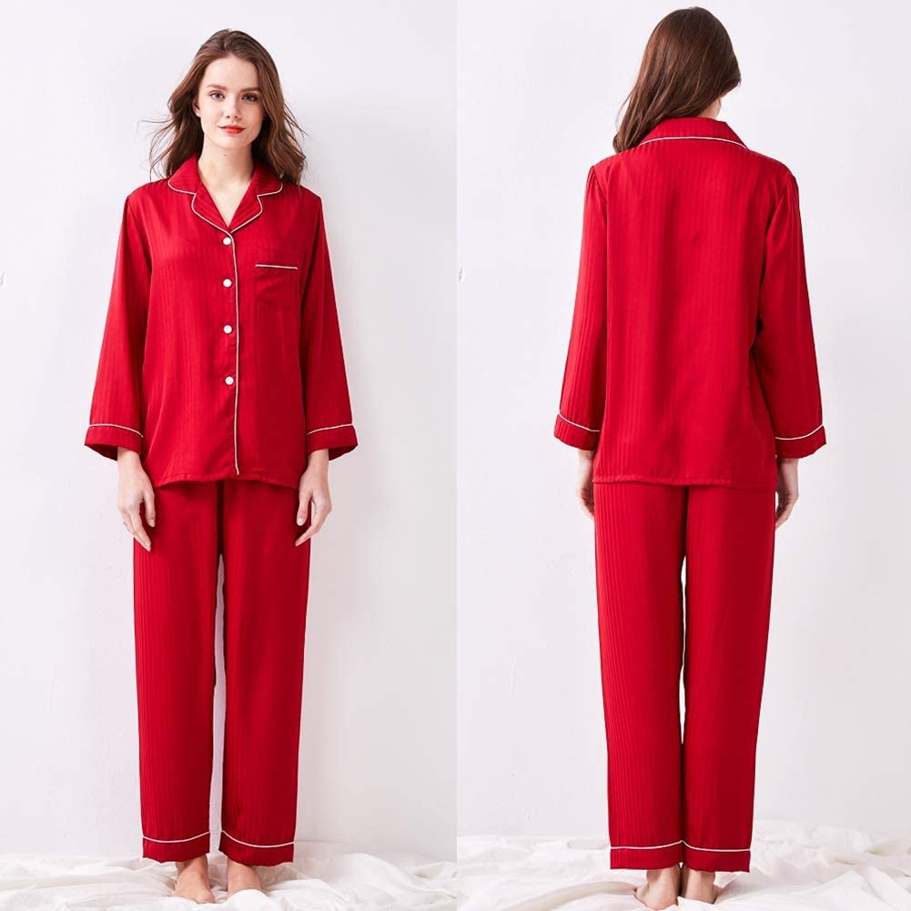 Xingsiyue Mujer Seda Pijama Set Manga Larga Bot/ón Abajo Ropa de Dormir PJ Conjuntos para Damas Dos Piezas Loungewear