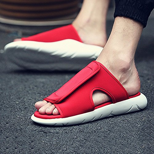 HUO Hausschuhe Männer Sandalen Mode Dicke Bottom Verschleißfeste Hausschuhe Im Freien Rutschfeste TPU Sohle Strand Schuhe Kühle atmungsaktiv ( Farbe : Schwarz , größe : EU40/UK7/CN41 ) Rot