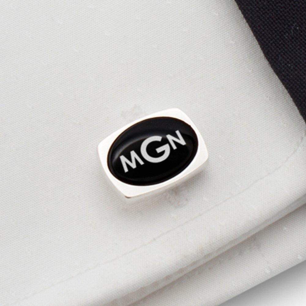 Silver cufflinks nad Onyx Three Letter Monogram,Engraved Cufflinks,Custom Cufflinks,Mens cufflinks | 925 Silver, Onyx gamestone | Size 0.63 x 0.47 inches | Gift letter | Handmade