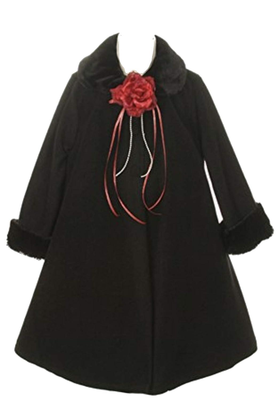Cozy Fleece Long Sleeve Cape Jacket Coat Pink Girl 4