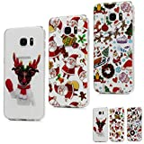 MAXFE.CO for Samsung S7 Edge Case Clear Christmas Series [3 Pack] Ultra Thin Slim Fit Shockproof Silicone Rubber Cases for Samsung Galaxy S7 Edge, Christmas Decoration & Santa Claus & Christmas Dog