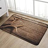 Antlers Bath Mat for tub Deer Antlers on Wood Table Rustic Texture Surface Hunting Season Fall Gathering Art door mats for inside Bathroom Mat Non Slip Backing20''x31'' Umber