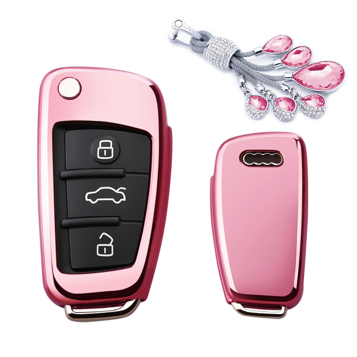 カイゼンキーレスエントリーリモートキーFobカバーソフトTPUケースwithダイヤモンドタッセルキーチェーンfor Audi a3 q3 q7 a1 s3 a6l 3ボタンフリップキー key cover+tassel keychain ピンク TPUKC040 B07CN1LYLD key cover+tassel keychain|ピンク ピンク key cover+tassel keychain
