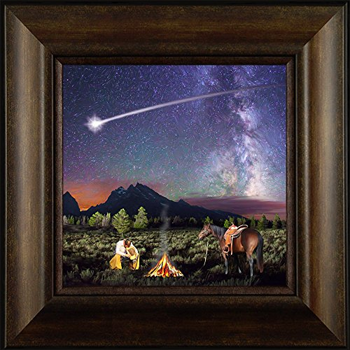 How the West was Won By Todd Thunstedt 20x20 Western Cowboy Praying Fire Shooting Star Framed Art Print Wall Décor - Wayne Preakness