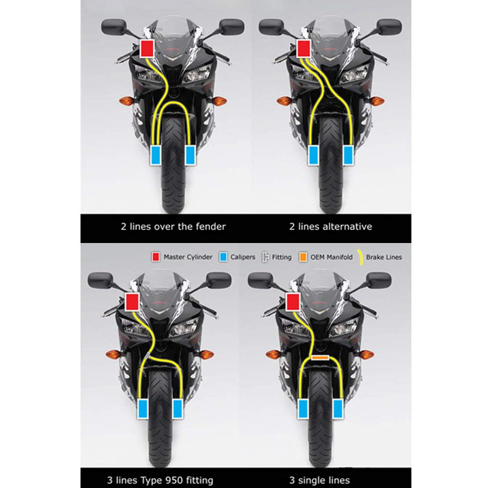 Moto Dirt Bike Intrecciato in Acciaio Idraulico Rinforzare la Linea del Freno Tubo Frizione Tubo Olio Green 160cm ETbotu Tubo Olio per Moto