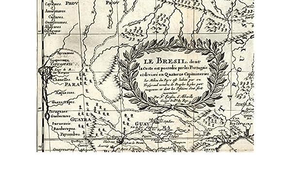 Amazon.com: Brazil Suriname Guyana Amazon Portuguese unknown natives 1699 Sanson rare map: Entertainment Collectibles