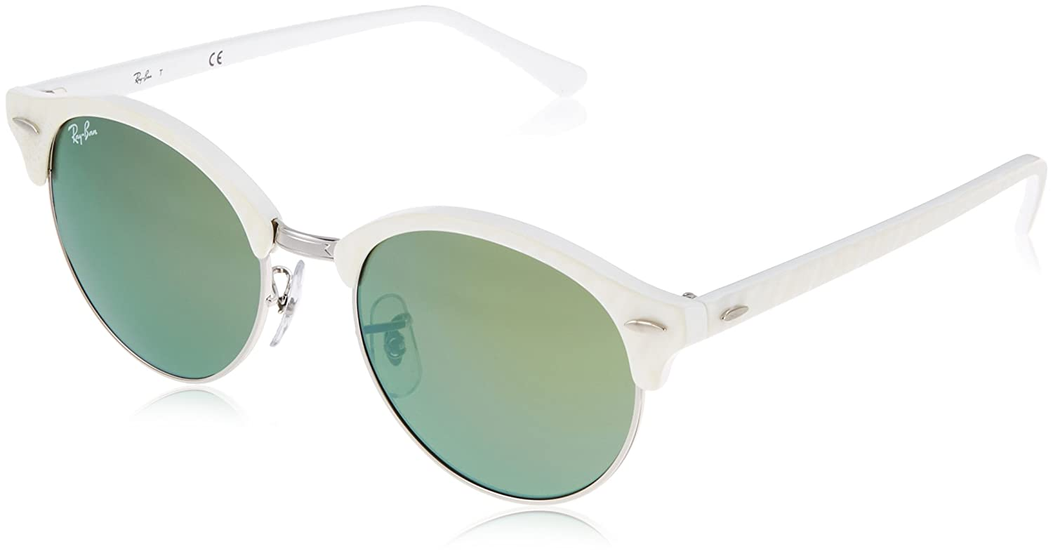 a1443619facd Amazon.com: Ray-Ban CLUBROUND Round Sunglasses, White Silver, 51mm: Ray-Ban:  Clothing