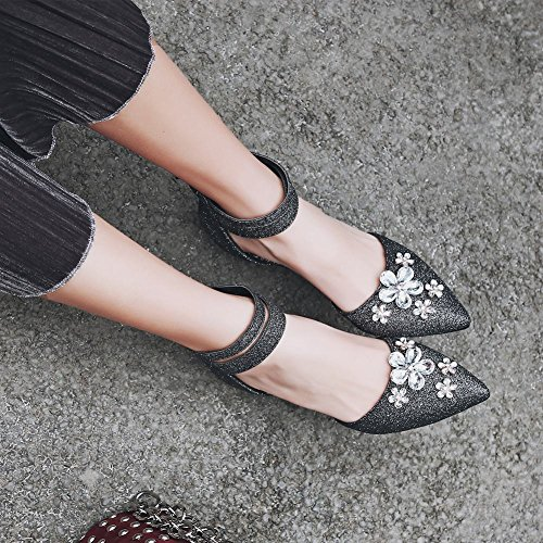 Mee Shoes Women's Beautiful Zip Kitten Heel Court Shoes Black FQ0WufRI