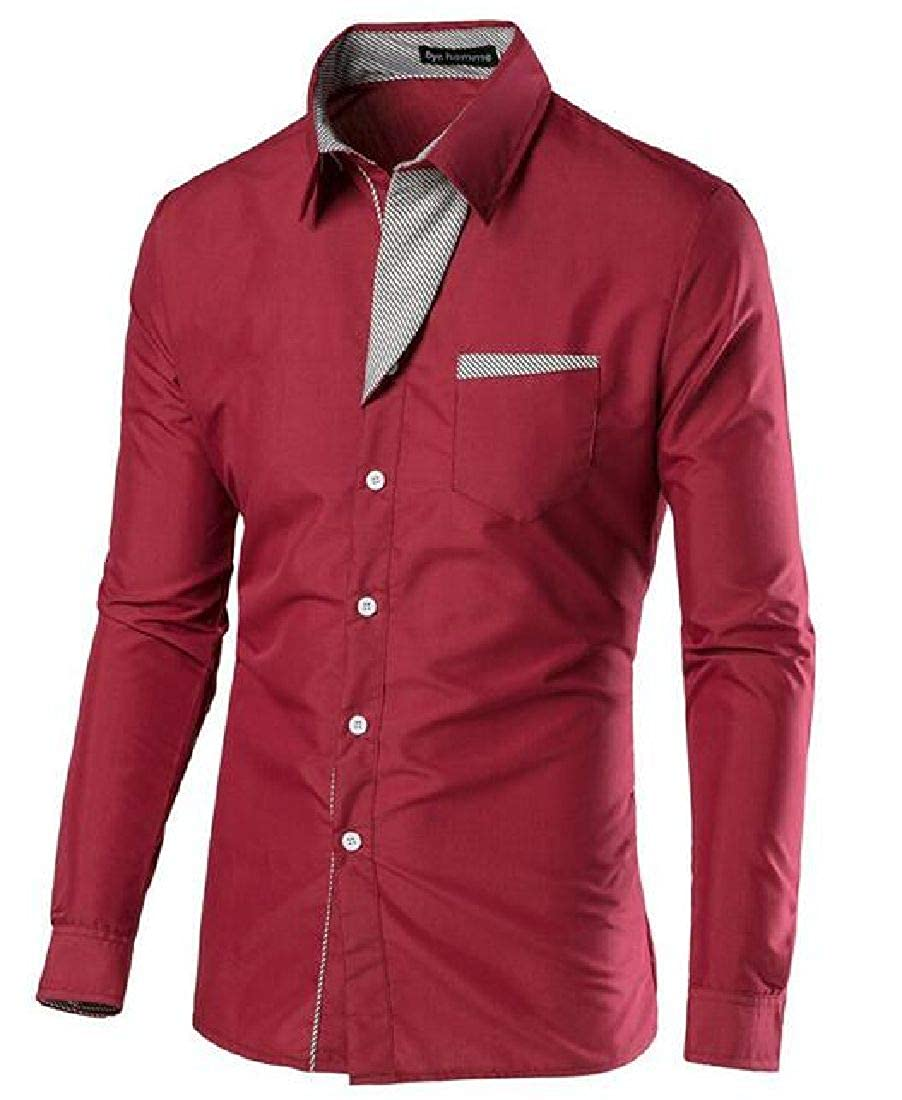 Nanquan Men Long Sleeve Button Down Plus Size Patchwork Slim Fit Shirt
