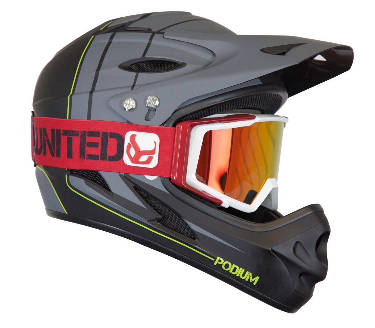 Demon Podium Full Face Mountain Bike Helmet Black with Red Supra Goggle (Small)