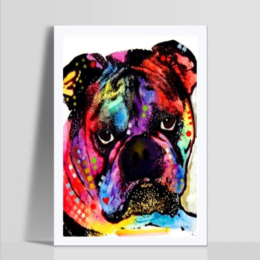 HIKO23 DIY 5D Diamond Painting Kit Bulldog Full Diamond Mountain Stream Embroidery Rhinestone Cross Stitch Arts Craft Supply for Home Wall Decor