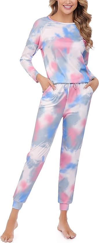 Hawiton Pijamas Mujer de algodón, Mangas Larga Camiseta y Pantalones de Lunares ondulados Conjunto de Ropa de Dormir 2 Piezas, Pijamas otoño Invierno Tallas Grandes: Amazon.es: Ropa y accesorios