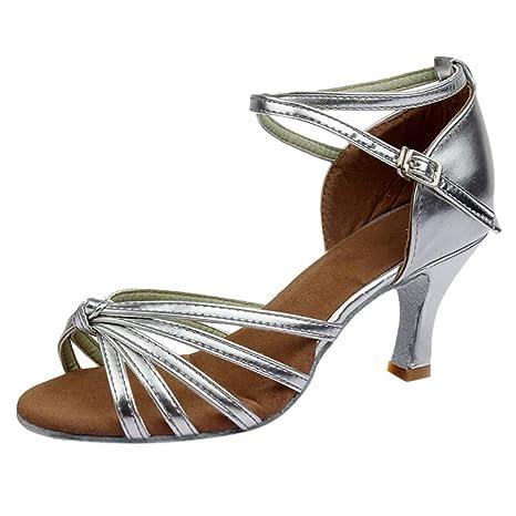 bf5db1942c0e DDUPNMONE Femmes Sandales Talon Moyen Bout Rond Talons Aiguilles Sangle De  Boucle Fille Chaussures De Danse Latine Chaussures De Satin Party   Amazon.fr  ...