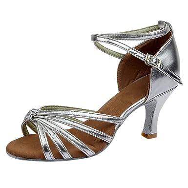 styles de mode plus tard Acheter Authentic LUCKYCAT Chaussures de Danse Latine à Talon Moyen pour Femme Confortable  Chaussures Danse de Salon de Salsa Tango Valse