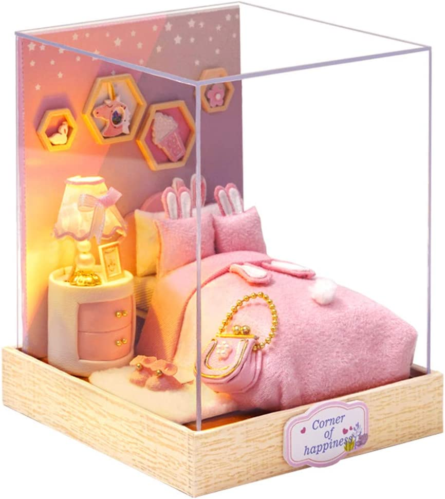 ROBOX Dollhouse Miniatures DIY Kits 1/24 Scale with Furniture and Accessories of Bed,Nightstand,Lamp Sweet Pink Room Assemble Toys for Girls Best Gift for Birthday Miniature Cozy Corners of Bedroom