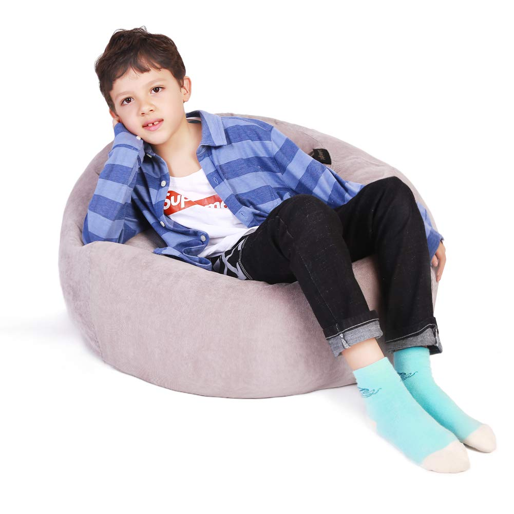 Stuffed Animal Storage Bean Bag Chair, Bean Bag Cover for Organizing Kid's Room - Fits a Lot of Stuffed Animals, Large/Gray