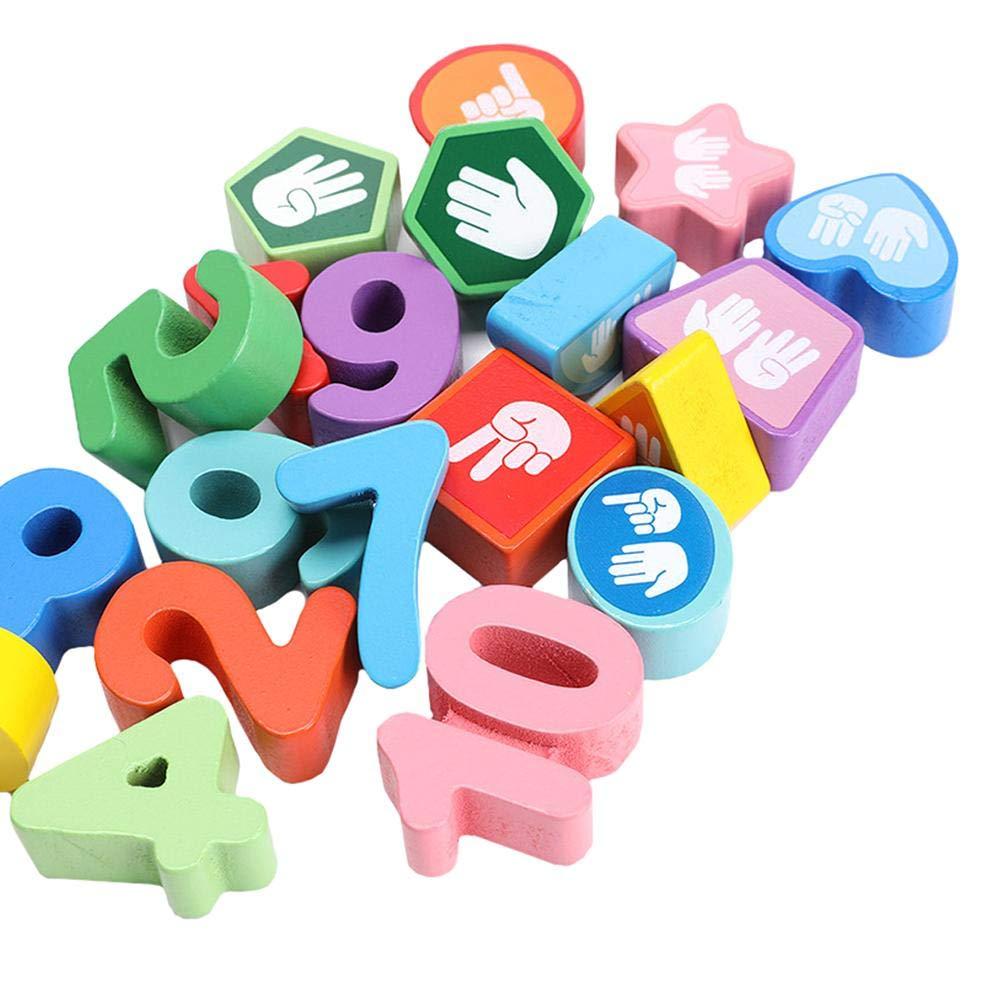Cadre de comptage en bois avec des nombres arithm/étiques de perles formes g/éom/étriques pour jouets math/ématiques Montessori jouets /éducatifs de comptage pour enfants