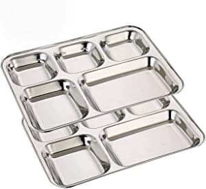 Khandekar Pack of 2 Stainless Steel Lunch Plate, 5 Compartment Thali, Food Divided Plates, Dinner Plate Set, Mess Tray, Kids Lunch Plate for Toddlers, Outdoor Camping and Everyday Use - 33 cm, Silver