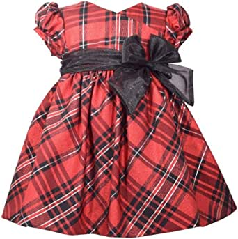 Bonnie Jean Christmas Dress - Holiday Red and Black Tartan Plaid for Baby Girls
