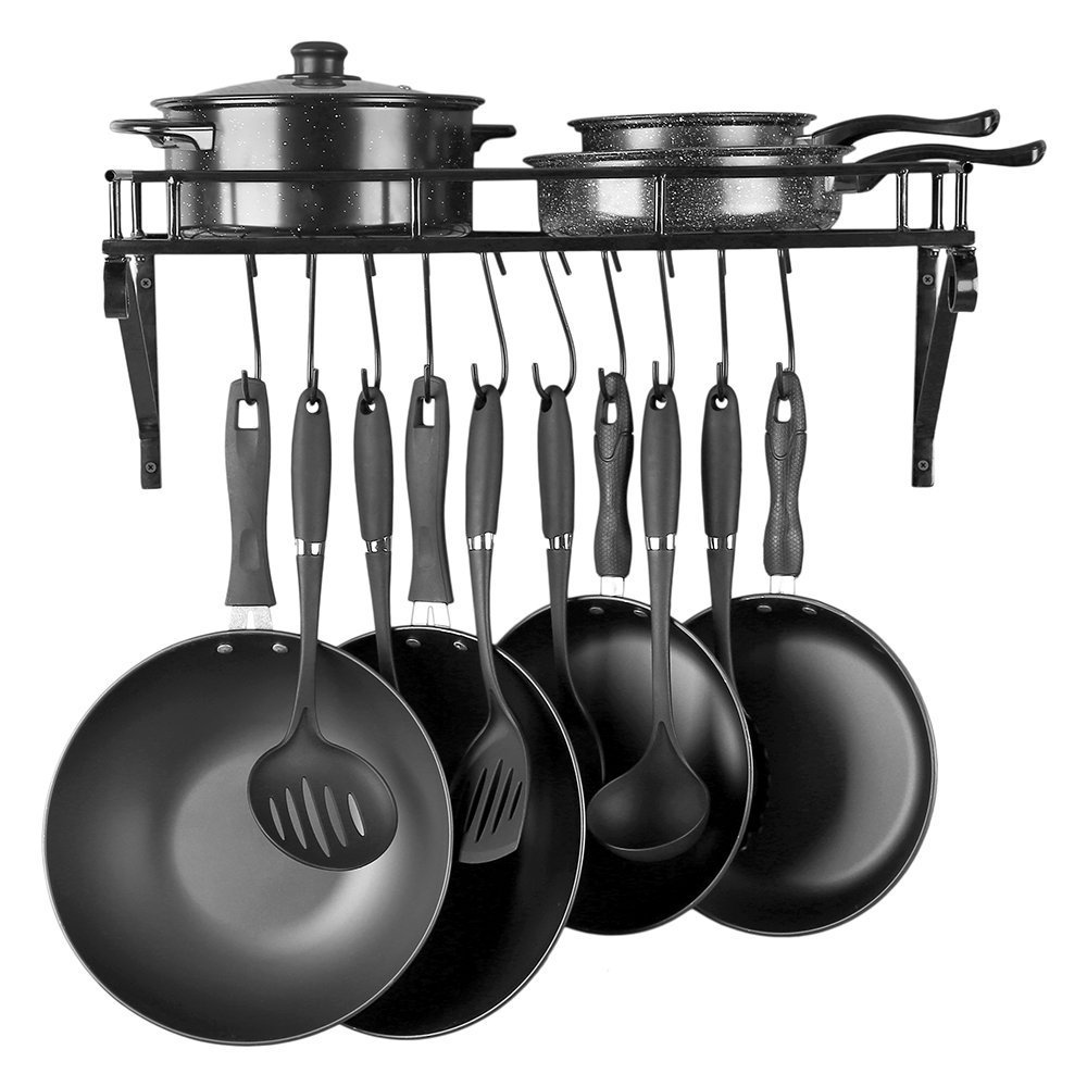 Kitchen Wall Mounted Pot Rack,Pan Lid Shelf,Cookware Storage With 10 Hooks,Black