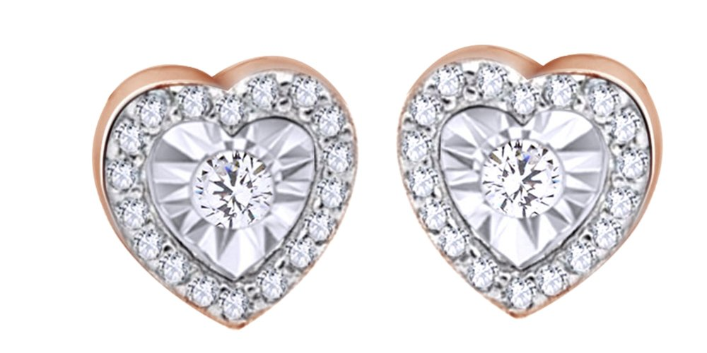 Round Cut White Natural Diamond Heart Stud Earrings In 14K Rose Gold Over Sterling Silver (0.12 Cttw)