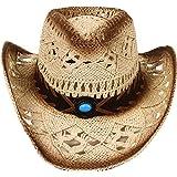 Simplicity Men / Women's Summer Woven Straw Cowboy Hat