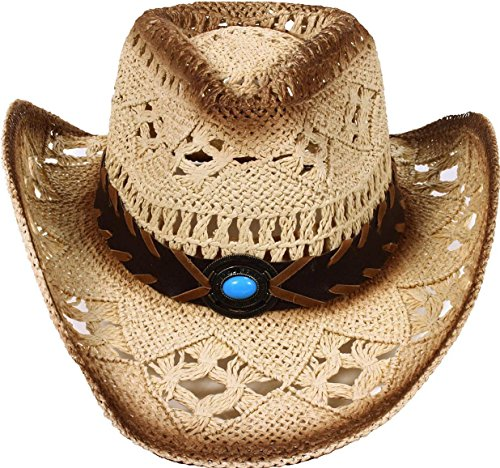 Men's & Women's Western Style Cowboy / Cowgirl Straw Hat with Bull  Big Bead Band - (Cowgirl Accessories)