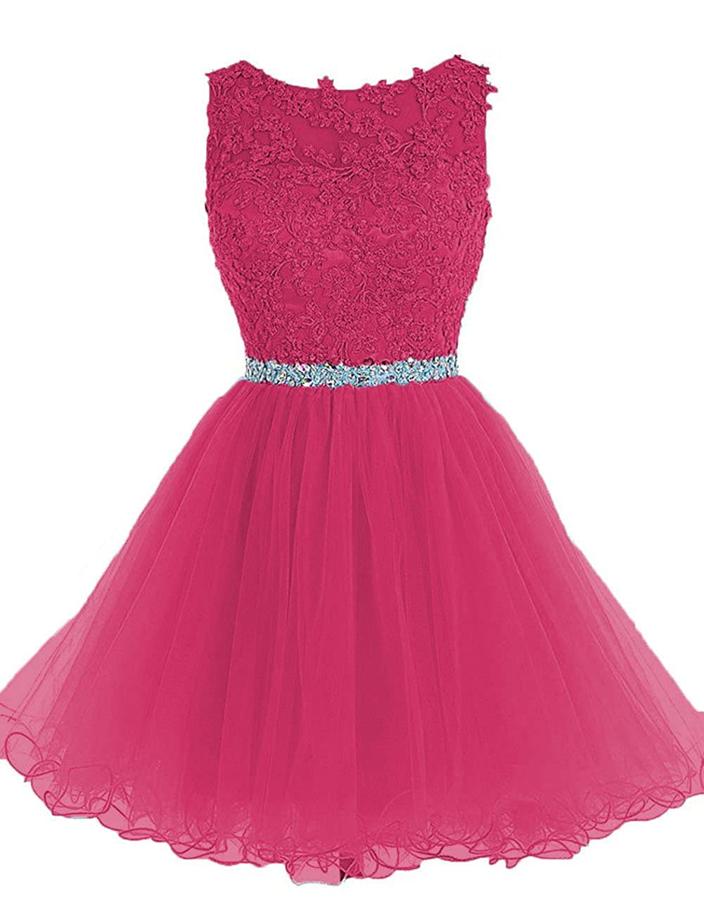 Cdress Beaded Applique Short Prom Homecoming Dresses Tulle Party Evening Gowns CE118