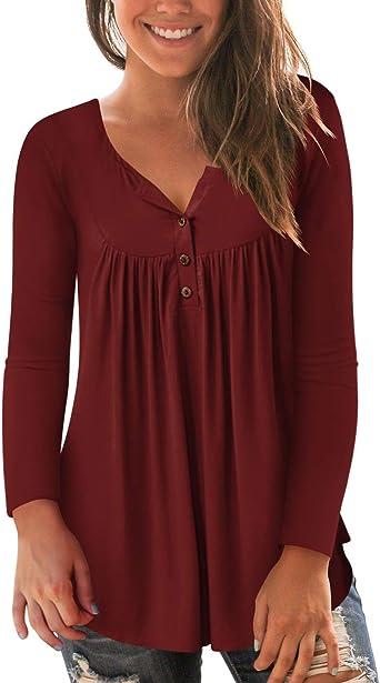 liher Womens Tops Short Sleeve Henley Neck Loose Fit Summer Shirts